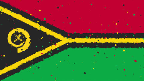 celebratory animated background of flag of Vanuatu appear from fireworks Animation