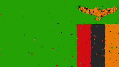 celebratory animated background of flag of Zambia appear from fireworks Animation