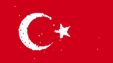 celebratory animated background of flag of Turkey appear from fireworks Animation