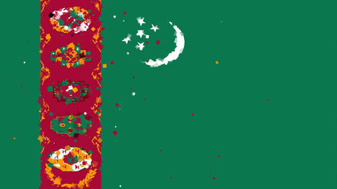 celebratory animated background of flag of Turkmenistan appear from fireworks Animation