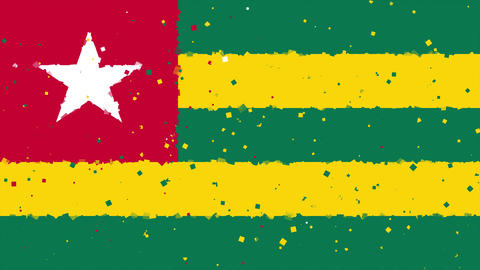 celebratory animated background of flag of Togo appear from fireworks Animation
