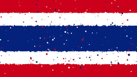 celebratory animated background of flag of Thailand appear from fireworks Animation