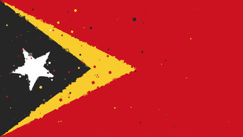 celebratory animated background of flag of Timor-Leste appear from fireworks Animation