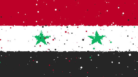 celebratory animated background of flag of Syria appear from fireworks Animation