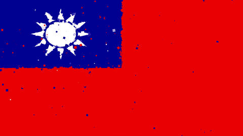 celebratory animated background of flag of Taiwan appear from fireworks Animation