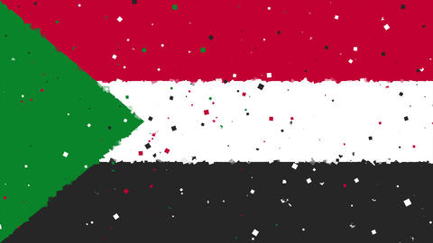 celebratory animated background of flag of Sudan appear from fireworks Animation