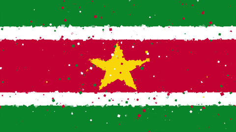 celebratory animated background of flag of Suriname appear from fireworks Animation