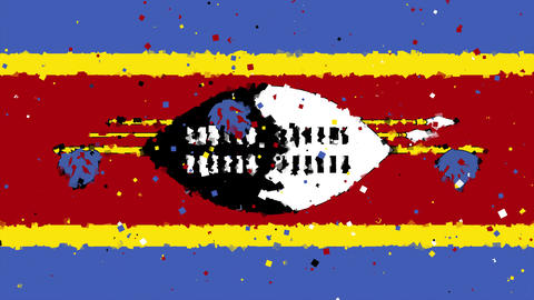 celebratory animated background of flag of Swaziland appear from fireworks Animation