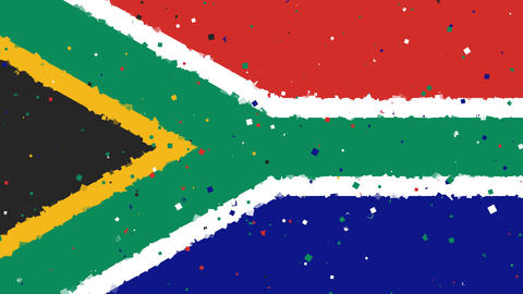 celebratory animated background of flag of South Africa appear from fireworks Animation