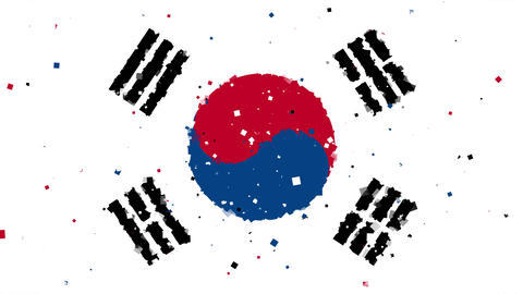 celebratory animated background of flag of South Korea appear from fireworks Animation