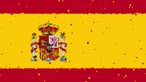 celebratory animated background of flag of Spain appear from fireworks Animation