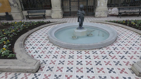 Boy statue in fountain Footage