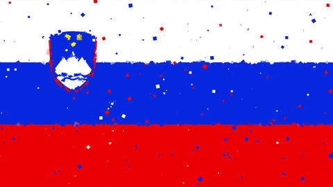 celebratory animated background of flag of Slovenia appear from fireworks Animation