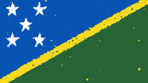 celebratory animated background of flag of Solomon Islands appear from fireworks Animation