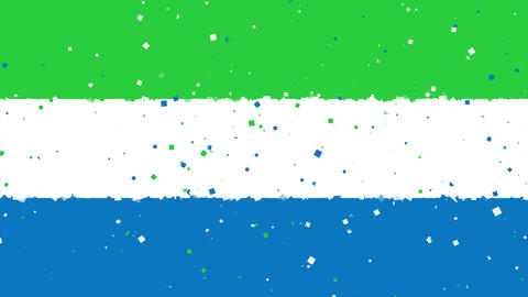 celebratory animated background of flag of Sierra Leone appear from fireworks Animation