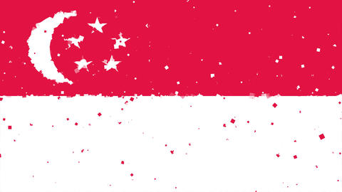 celebratory animated background of flag of Singapore appear from fireworks Animation