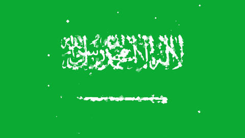 celebratory animated background of flag of Saudi Arabia appear from fireworks Animation