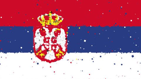 celebratory animated background of flag of Serbia appear from fireworks Animation