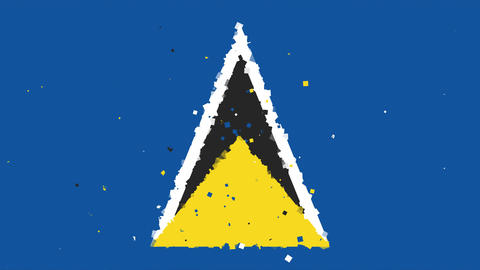 celebratory animated background of flag of Saint Lucia appear from fireworks Animation