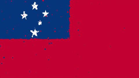 celebratory animated background of flag of Samoa appear from fireworks Animation