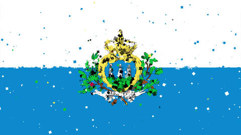 celebratory animated background of flag of San Marino appear from fireworks Animation