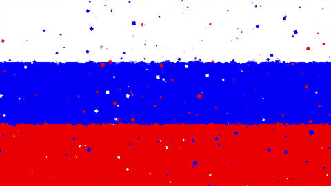 celebratory animated background of flag of russia appear from fireworks Animation