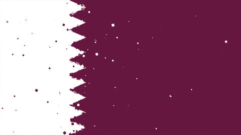 celebratory animated background of flag of Qatar appear from fireworks Animation