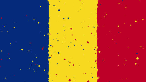celebratory animated background of flag of Romania appear from fireworks Animation