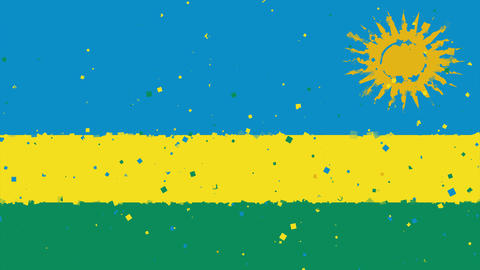 celebratory animated background of flag of Rwanda appear from fireworks Animation