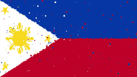 celebratory animated background of flag of Philippines appear from fireworks Animation