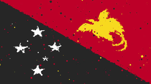 celebratory animated background of flag of Papua New Guinea appear from firework Animation
