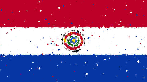 celebratory animated background of flag of Paraguay appear from fireworks Animation