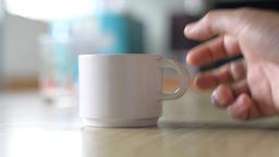 Close up smoking on coffee cup Footage