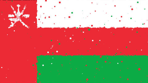 celebratory animated background of flag of Oman appear from fireworks Animation