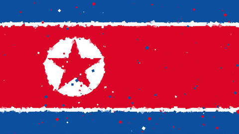 celebratory animated background of flag of North Korea appear from fireworks 애니메이션