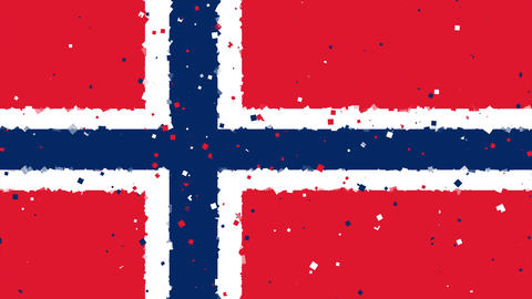 celebratory animated background of flag of Norway appear from fireworks Animation