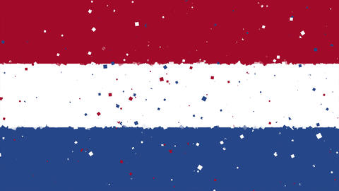 celebratory animated background of flag of Netherlands appear from fireworks Animation