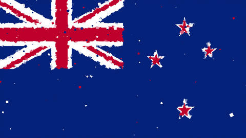 celebratory animated background of flag of New Zealand appear from fireworks Animation