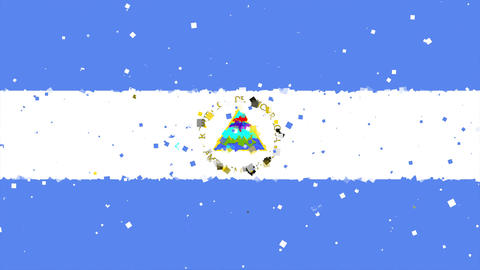 celebratory animated background of flag of Nicaragua appear from fireworks Animation