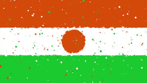 celebratory animated background of flag of Niger appear from fireworks Animation