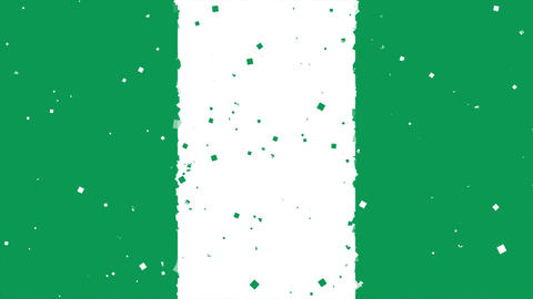 celebratory animated background of flag of Nigeria appear from fireworks Animation