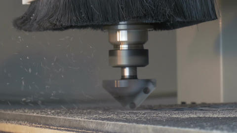 Cnc drills holes side view Footage