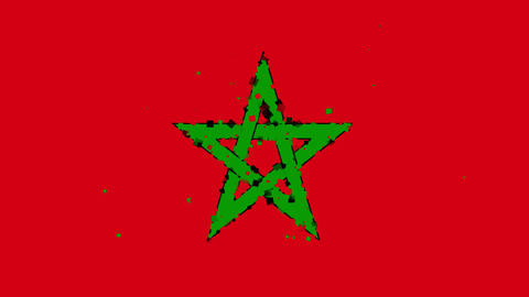celebratory animated background of flag of Morocco appear from fireworks Animation