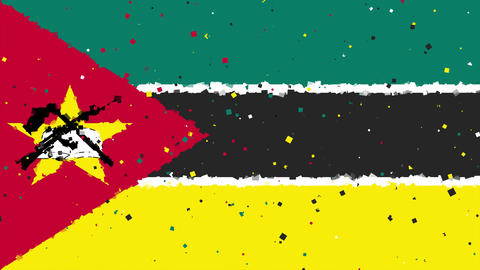 celebratory animated background of flag of Mozambique appear from fireworks Animation