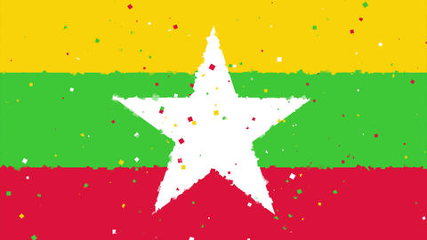 celebratory animated background of flag of Myanmar (Burma) appear from fireworks Animation