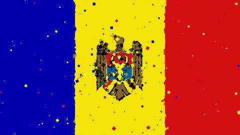 celebratory animated background of flag of Moldova appear from fireworks Animation