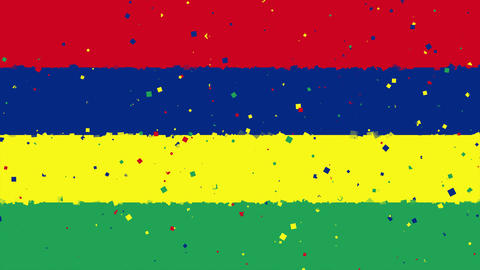 celebratory animated background of flag of Mauritius appear from fireworks Animation