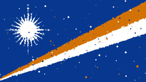 celebratory animated background of flag of Marshall Islands appear from firework Animation