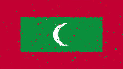 celebratory animated background of flag of Maldives appear from fireworks Animation