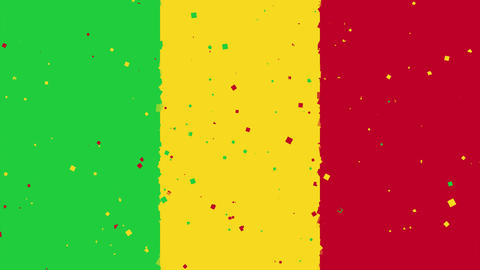 celebratory animated background of flag of Mali appear from fireworks Animation